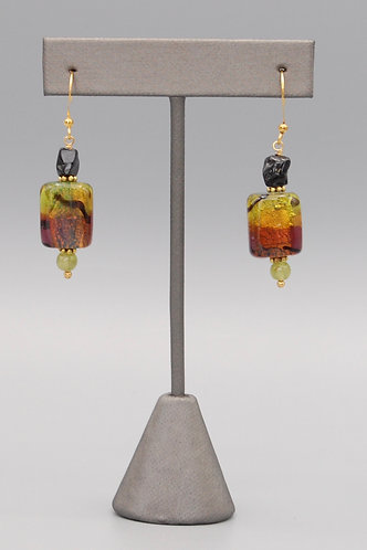 Venetian Glass and Black Spinel Nugget Earrings
