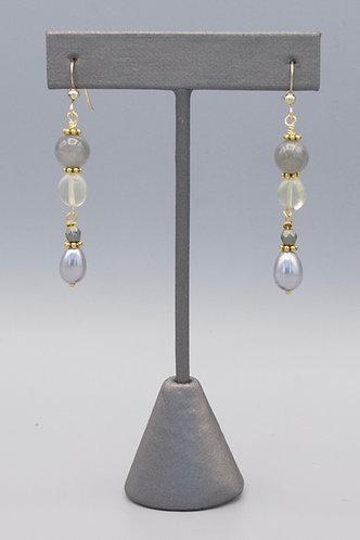 Labradorite, Lemon Briolette & Grey Pearl Drop Earrings