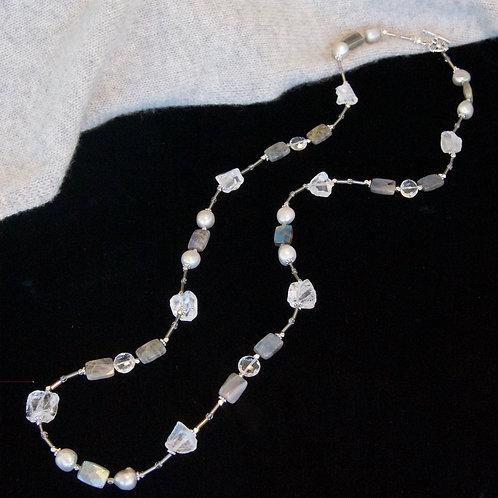 Crystal & Labradorite Long Necklace