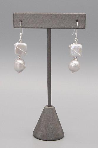 Gray Pearl  Wrapped Earrings