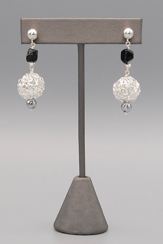 Silver Wire Knot & Black Spinel Nugget Earrings