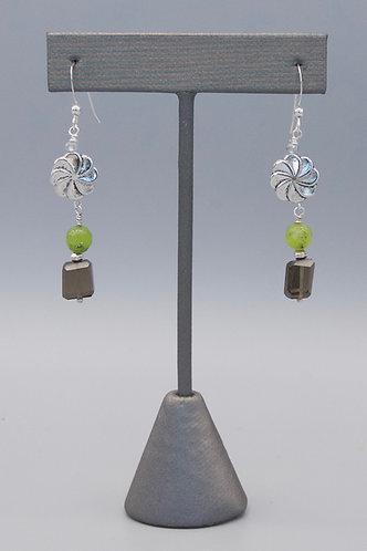 Smokey Quartz with Silver Flowers Earrings