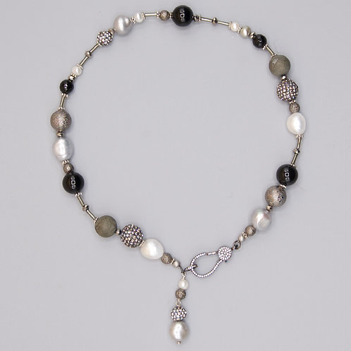Pearl & Onyx Choker with Pave Clasp