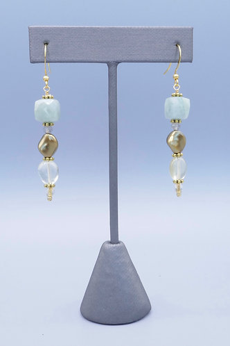 Amazonite, Golden Pearl & Lemon Briolette Earrings
