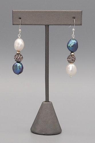 Black & White Pearl & Pave Earrings