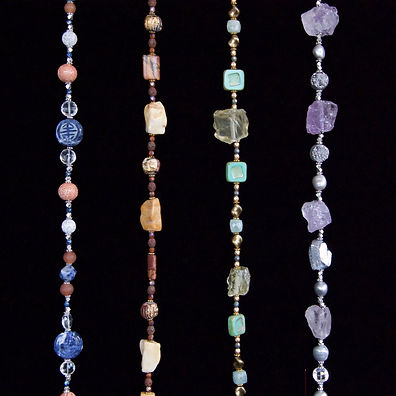 4 bright color - hanging beaded necklaces