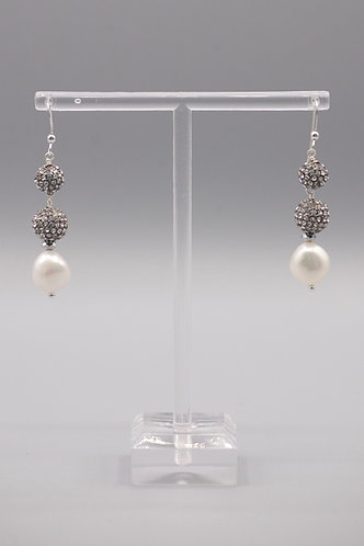 White Pearls with 2 Pave Beads Earrings
