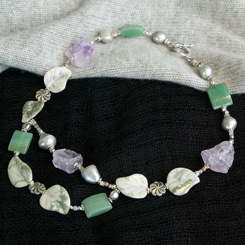 Amethyst, Jade with Carved Leaves Necklace