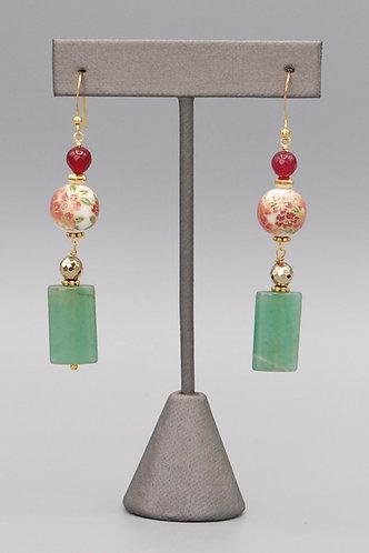 Poinsetta & Jade Earrings