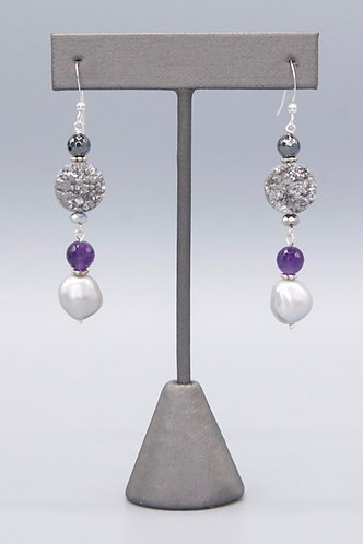 Gray Baroque Pearls with Sparkley Druzy Coins Earrings