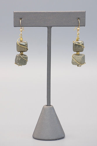 Wrapped Pyrite Earrings