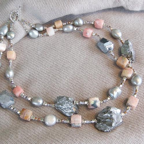 Silver Quartz & Pink Opals Necklace - Double Strand