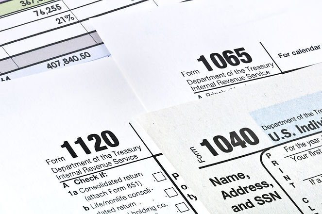 Tax forms 1040,1120,1065
