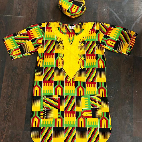 Kente Embroidered Shirt with Kufi (hat)