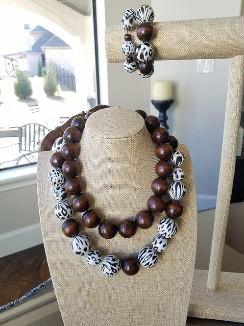 White Animal Printed and Coffee Bean Necklace
