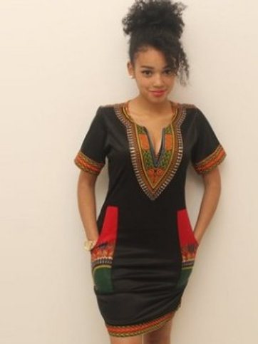 Kitenge Print Woman Dashiki Short Sleeve Dress