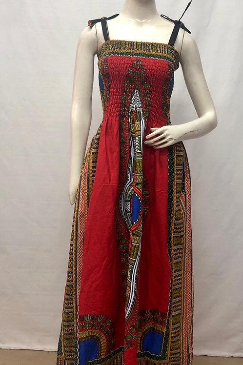 Spaghetti Strap Dashiki Cultural Dress