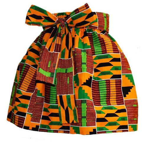 African Kente Print Skirt w/belt for Girls