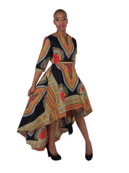 Formal Traditional Print Hi-Lo Dress