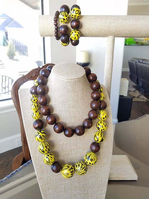 Yellow Animal Print and Coffee Bean Necklace & Bracelet Set