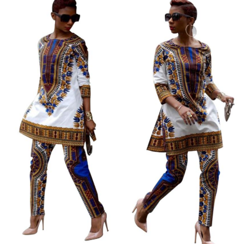 Women Dashiki Pants Suit