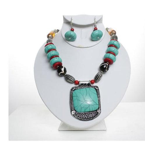 Tribal Turquoise Beaded Necklace Set