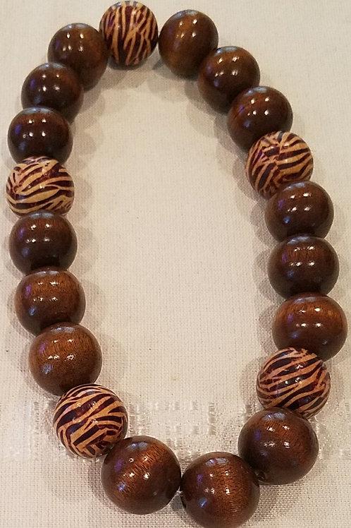 Coffee Bean and Zebra Necklace & Bracelet Set