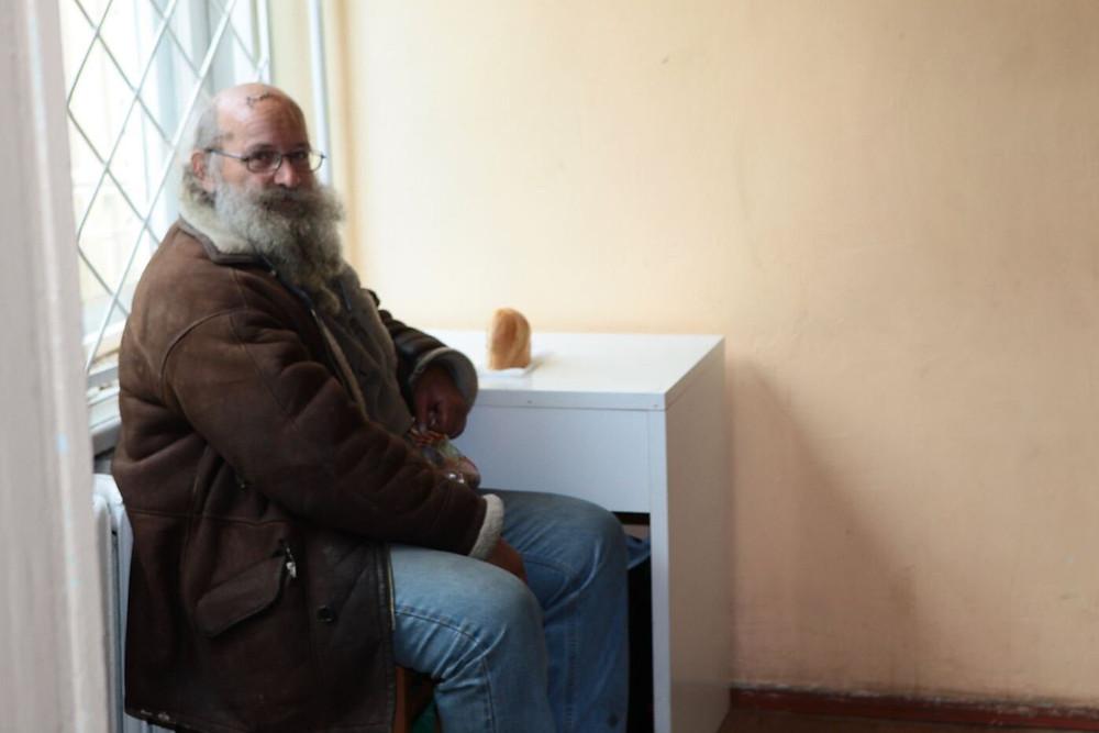 Homeless man in Shelter