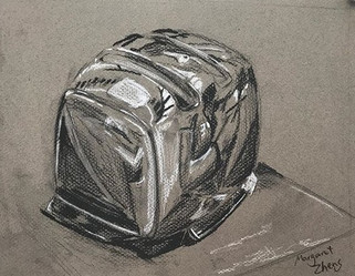 Toasted, charcoal on grayscale paper, 9