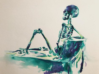 A gestural skull, watercolor on paper #s