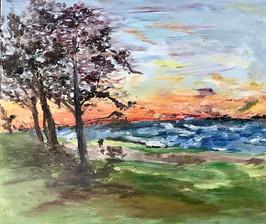 "Beach in Fairhope, oil on canvas 20"" by"