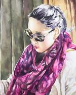 Fuchsia scarf, watercolor self portrait