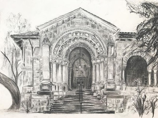 The Arcades, 18'' by 24'' charcoal drawi