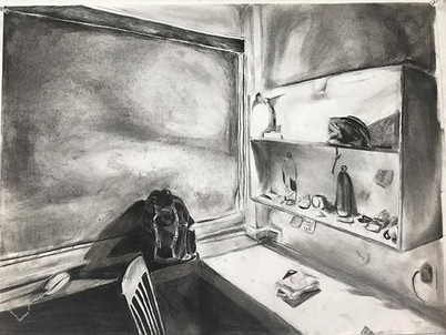 Night in dorm, charcoal drawing on paper