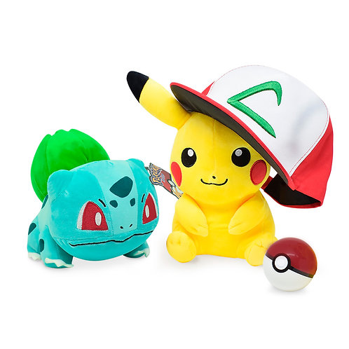 Kit Treinador Pokémon 2 Pelúcias Pikachu + Charmander