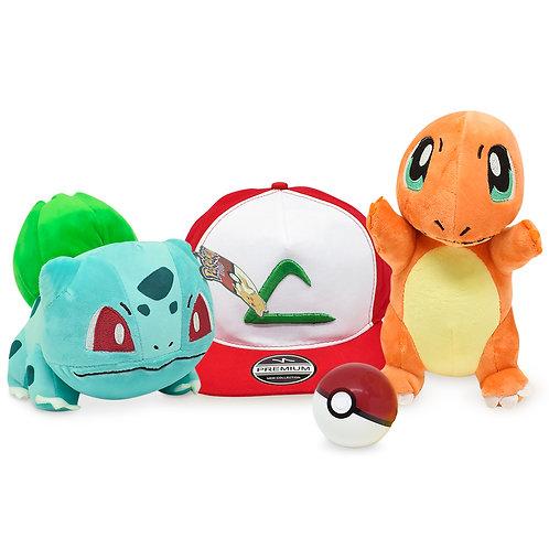 Kit Treinador Pokémon 2 Pelúcias Bulbasaur + Charmander