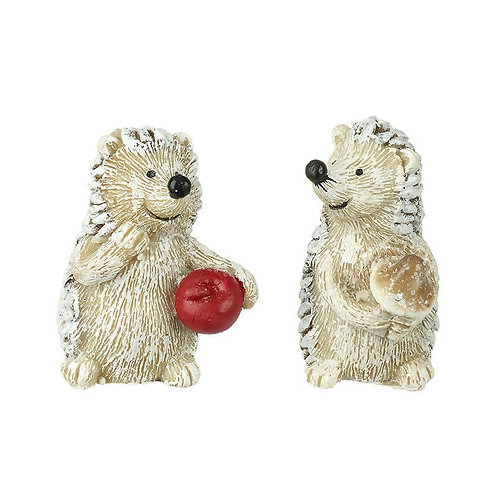 Hedgehog Happy Holding Mushroom or Apple - Single