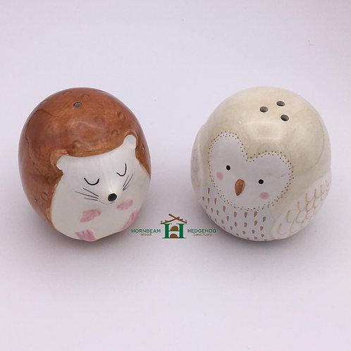 Hedgehog and Owl Salt & Dolomite Pepper Shakers