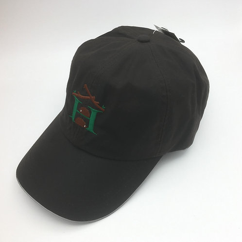 Waxed Dark Brown 100% Cotton Baseball Cap - Embroidered Logo
