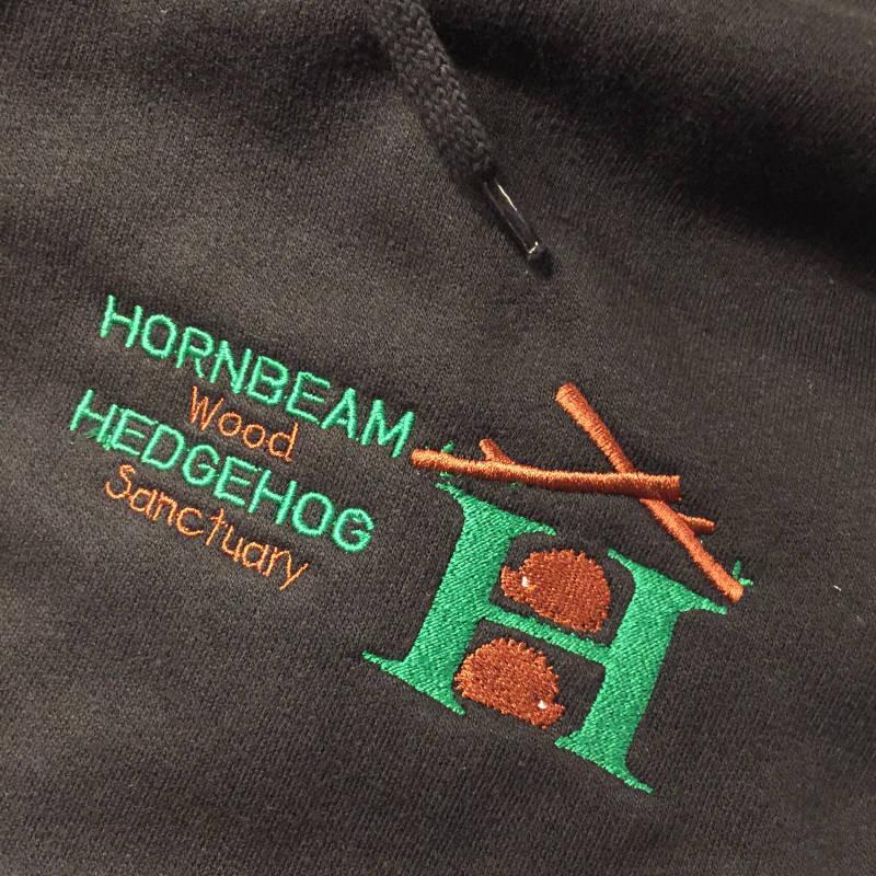 Classic Hooded Sweatshirt - Embroidered Hornbeam Wood Hedgehog Sanctuary Logo