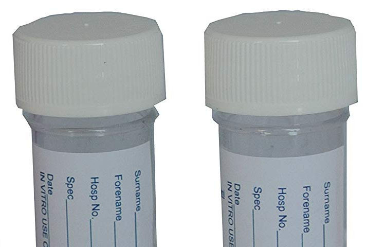 50 x Urine Sample Bottles Specimen Pot Graduated Container with Lid & Label 30ml + Re-usable Female Urinal