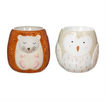 Hedgehog and Owl Egg Cups - Set of 2
