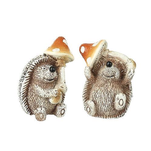 Hedgehog With Mushroom Decoration - Single