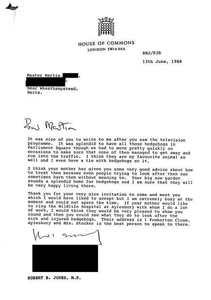 Letter from Robert Jones MP - House of C