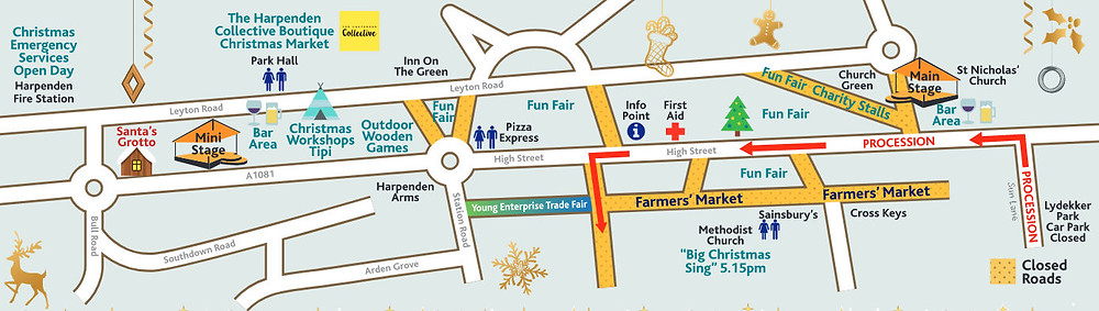 Harpenden Christmas Carnival Map