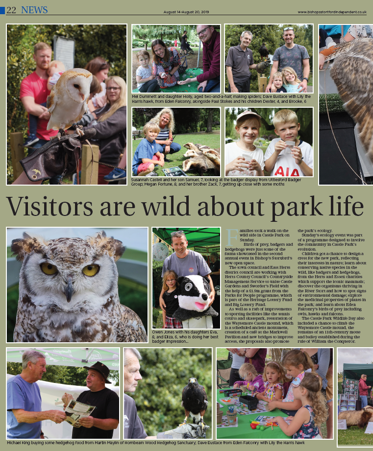 Lovely article and some photos of us from the Wildlife Day At Castle Park In Bishops Stortford we recently attended.
