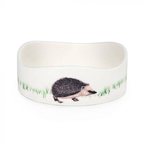 Hedgehog Ceramic Round Water & Food Bowl - With picture of hedgehog on the side