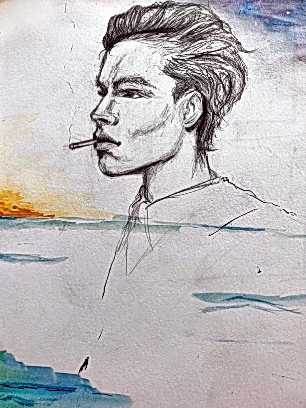 Sketchbook- watercolor profile cigarette