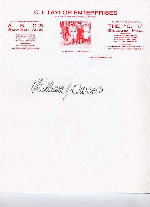 "William ""Bill"" Owens, Negro League, Autographed"