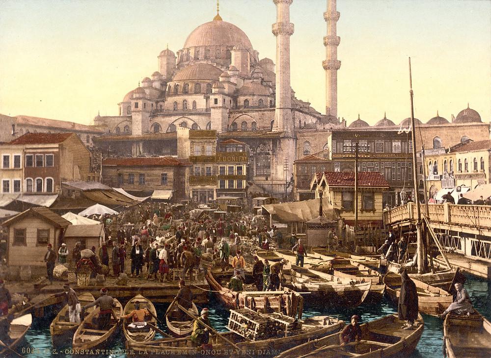 Eminönü Mosque and Bazaar, Constantinople, c.1895.